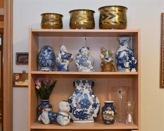 Brass Planters, Blue & White Porcelain / Pottery
