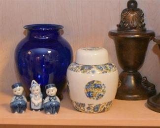 Bookends, Blue Glass Vase, Ginger Jar, Dutch Salt & Pepper Shakers