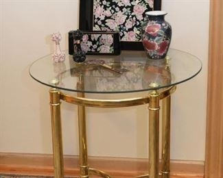 Brass Side Table with Glass Top