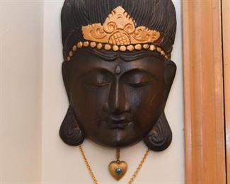 Asian / Buddhist Wooden Face Wall Hanging