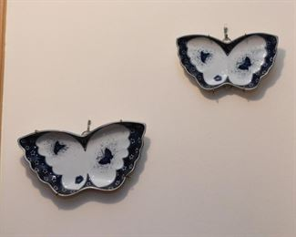 Blue & White Pottery Butterfly Plates