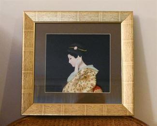 Framed Japanese Relief Geisha Portrait / Shadowbox