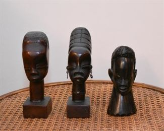 Wood Carved African Busts