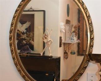 Oval Brass Framed Wall Mirror