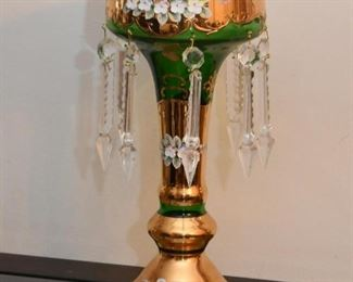 Vintage Hand Painted Glass Luster / Candle Holder with Crystals