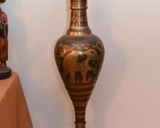 Brass Floor Vase with Elephant