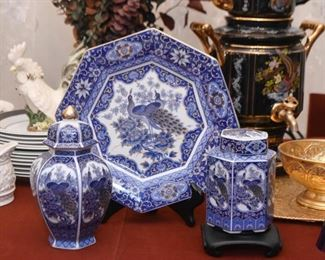 Fine China Plate (Peacock), Ginger Jars (Peacock plate is SOLD)