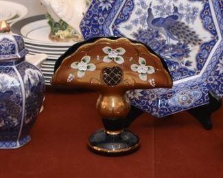 Vintage Hand Painted Glass Pedestal Napkin Holder