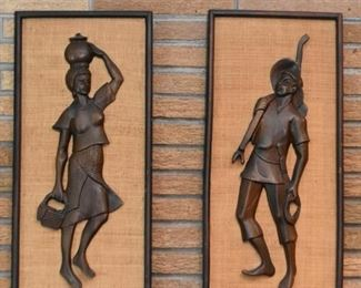 Figural Wood Carved Wall Hangings