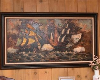 Oil Painting, Signed (Ships)