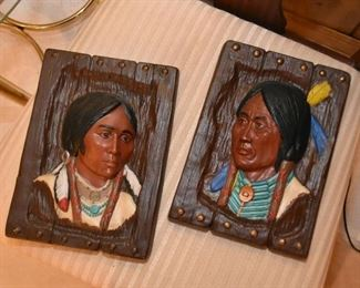 Native American Relief Portraits - Ceramic Wall Plaques