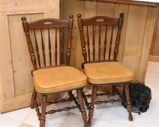 Set of 5 Vintage Wood Dining Chairs