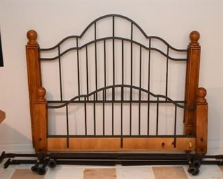 Wood & Metal Bed (Headboard, Foot Board & Frame)