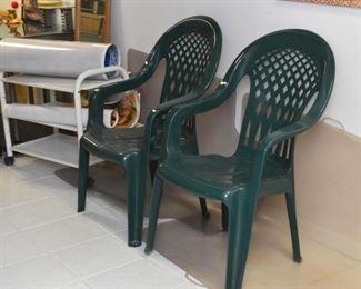 Green Plastic Patio / Garden Chairs (2)