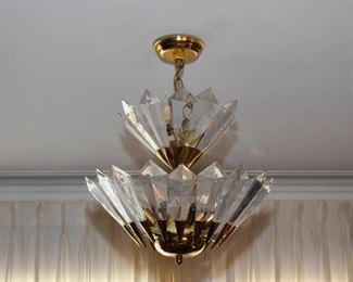 Brass & Lucite Ceiling Light Fixture / Pendant