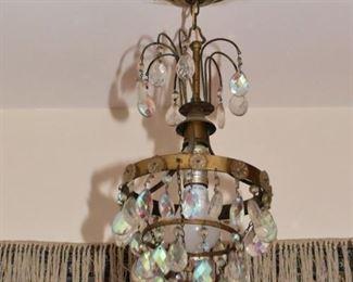 Small Crystal & Brass Ceiling Light Fixture / Pendant