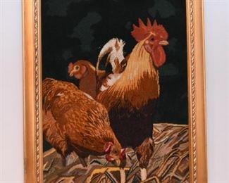 Framed Persian Tabriz Carpet Artwork / Wall Hanging (Chickens)