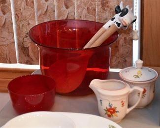 Red Glass Serving Bowl, Sugar & Creamer Set