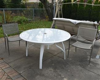 Patio Dining Table, Pair of Patio Chairs