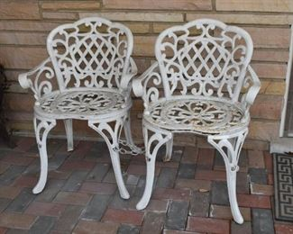 White Iron Garden Chairs