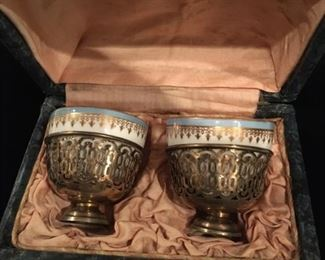 Antique Russian silver and porcelain cups, original box