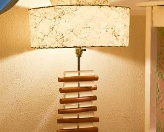 MCM Lucite & Wood Table Lamp with Fiberglass Shade