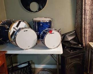 "DDrum set, speaker & drum supplies - vintage band called ""the Spur Band"""