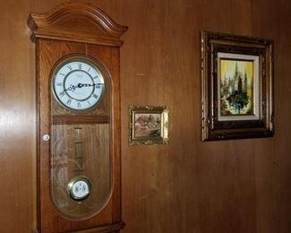 Wall clock and artwork