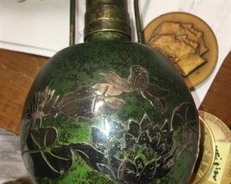 Sterling silver water lilies on Heinzt lamp