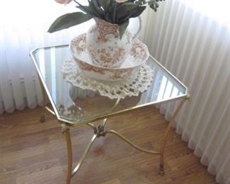 Mid-Century Glass & Brass Accent Tables