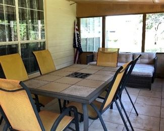 Outdoor tile table with 6 chairs