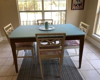 Shabby chic mid century table & 4 chairs