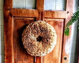 OLD DOOR AND WREATH