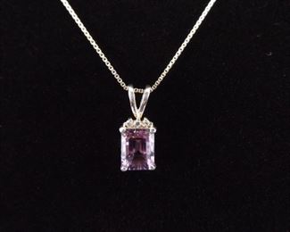 .925 Sterling Silver Emerald Cut Amethyst Pendant Necklace