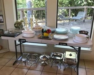 Silver Serving Pieces. Frosted Glass Shell Shaped Plates.