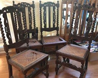 English Oak Barley Twist Chairs.