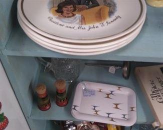 Kennedy memorabilia, kitchenware, MCM.
