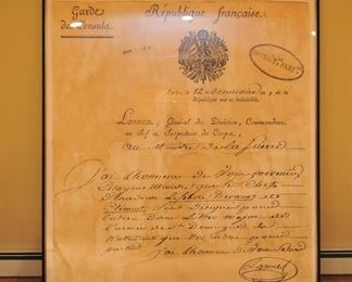 Restoration Hardware 1800 letter to French ministry of war