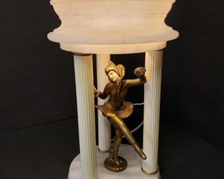 Art Deco Harlequin Pixie Dancer on Alabaster with Alabaster Lamp Shade