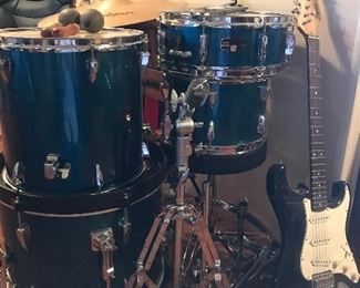 Drum set & guitar