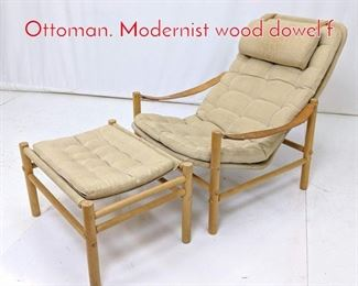 Lot 1 DUX Canvas Lounge Chair Ottoman. Modernist wood dowel f