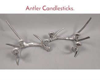 Lot 3 Pr Contemporary Aluminum Antler Candlesticks.