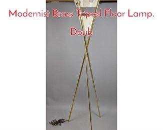 Lot 4 GERALD THURSTON Modernist Brass Tripod Floor Lamp. Doub