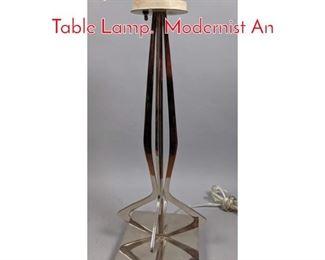 Lot 7 Tempestini attr. Chrome Steel Table Lamp. Modernist An
