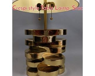 Lot 10 Brass Modernist Gabriella Crespi style Table Lamp. Stac