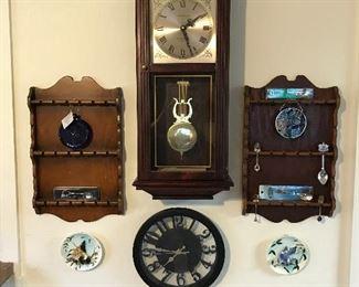 Silver spoon racks and clocks
