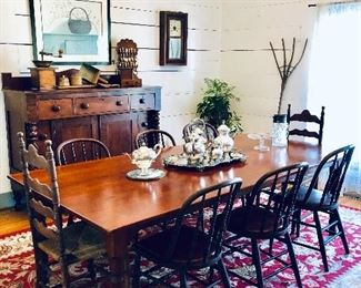 Cherry Farm Table, 6 vintage Windsor chairs, large area rug, silver plate serving set.