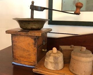 Large coffee grinder with pine board. Butter molds