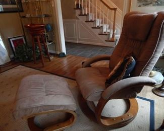 Nice condition on this suede chair and ottoman.
