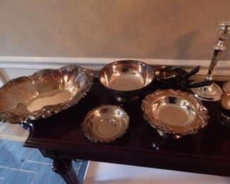 Silver plate serving pieces.